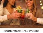 young men and women drinking... | Shutterstock . vector #760190380