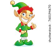 smiling christmas elf cartoon... | Shutterstock .eps vector #760194670