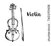 music instrument violin outline ... | Shutterstock .eps vector #760195408