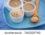 tahini and sesame seeds   food... | Shutterstock . vector #760205740