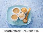 tahini and sesame seeds   food... | Shutterstock . vector #760205746