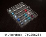 sewing bobbins in a box | Shutterstock . vector #760206256