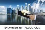 the double exposure image of...   Shutterstock . vector #760207228