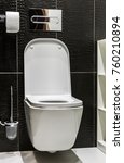 white ceramic toilet with the... | Shutterstock . vector #760210894
