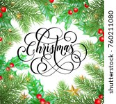 merry christmas trendy quote... | Shutterstock .eps vector #760211080