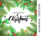 merry christmas trendy quote... | Shutterstock .eps vector #760211143