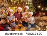 family with bengal lights in... | Shutterstock . vector #760211620