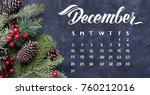 december monthly calendar.... | Shutterstock . vector #760212016