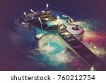 electric guitar with lighted... | Shutterstock . vector #760212754
