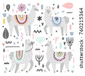 vector set of adorable lamas.... | Shutterstock .eps vector #760215364