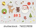 80s christmas party sticker set.... | Shutterstock .eps vector #760219858
