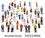isometric people stand  isolated | Shutterstock . vector #760224886