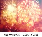 fireworks at new year and copy...   Shutterstock . vector #760225780