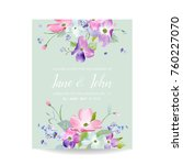 wedding invitation template... | Shutterstock .eps vector #760227070