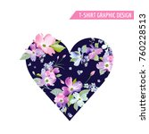 floral heart spring graphic... | Shutterstock .eps vector #760228513