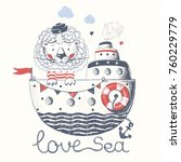 cute lion sailor on the ship... | Shutterstock .eps vector #760229779