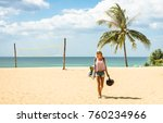 young woman traveler walking on ...   Shutterstock . vector #760234966