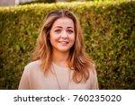 shy pretty caucasian girl... | Shutterstock . vector #760235020