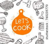 let's cook. food card.... | Shutterstock .eps vector #760235770