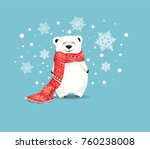 polar bear with red scarf... | Shutterstock .eps vector #760238008