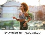 sporty african american woman... | Shutterstock . vector #760238620