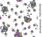 seamless bugs cartoon pattern.... | Shutterstock .eps vector #760239430