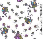 seamless bugs cartoon pattern.... | Shutterstock .eps vector #760239430