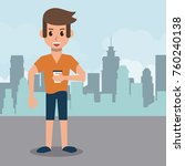 young man in the city | Shutterstock .eps vector #760240138
