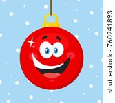 happy red christmas ball... | Shutterstock .eps vector #760241893