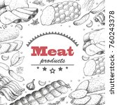 vector background with meat... | Shutterstock .eps vector #760243378