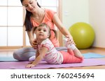 kids yoga female teacher... | Shutterstock . vector #760245694