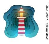 cartoon lighthouse in paper cut ... | Shutterstock .eps vector #760246984