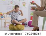 young upset boy covering ears...   Shutterstock . vector #760248364