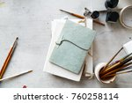 workplace of freelance artist...   Shutterstock . vector #760258114
