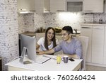 happy young couple planning... | Shutterstock . vector #760260424