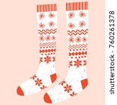 cute vector winter knitted... | Shutterstock .eps vector #760261378