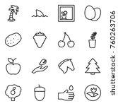 Thin Line Icon Set   Palm ...