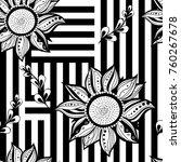 black white florews seamless... | Shutterstock . vector #760267678