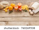 spa concept with orange fruits... | Shutterstock . vector #760269538
