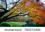 autumn scene at rikugien garden ... | Shutterstock . vector #760272400