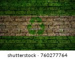 recycle sign flag bricks wall | Shutterstock . vector #760277764