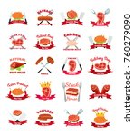 meat  chicken  sausage labels... | Shutterstock . vector #760279090