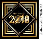 vector 2018 happy new year... | Shutterstock .eps vector #760287193