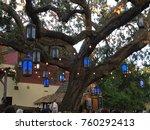 lighted oak tree | Shutterstock . vector #760292413