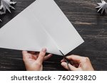 sheet of paper with hands... | Shutterstock . vector #760293820