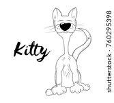 vector kitty. hand drawn sketch.... | Shutterstock .eps vector #760295398