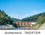 dam doors closed water storage. | Shutterstock . vector #760297339