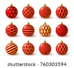 set of red christmas balls with ...   Shutterstock .eps vector #760303594