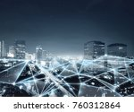 map of network connection and... | Shutterstock . vector #760312864