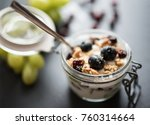 yoghurt with grapes  muesli... | Shutterstock . vector #760314664